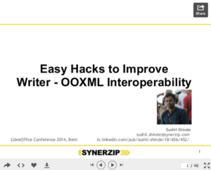 """Easy Hacks to Improve Writer - OOXML Interoperability"" presented by Sushil Shinde"