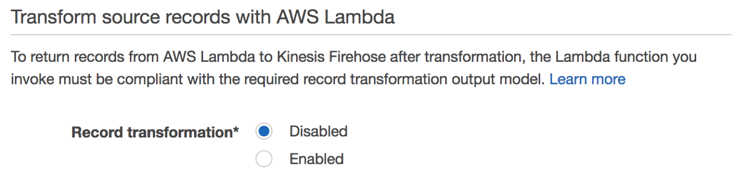Transform Source Record with AWS Lambda