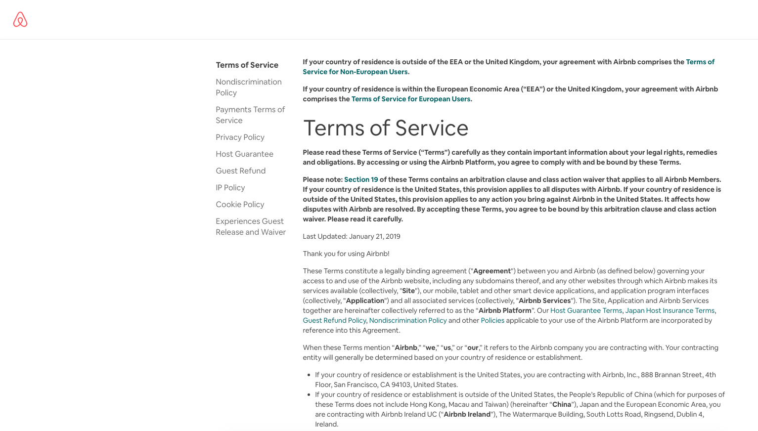 Airbnb terms and conditions page